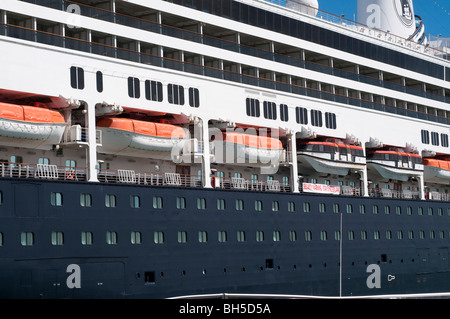 lifeboats on Ferryboat docked at princes wharf auckland , New Zealand - Stock Photo