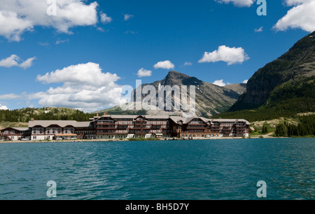 The turquoise waters of Swiftcurrent Lake and Many Glacier Hotel