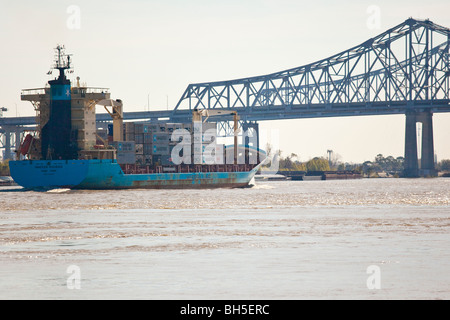 Shipping, Crescent City Connection formerly Greater New Orleans Bridge, Mississippi River, New Orleans, LA - Stock Photo