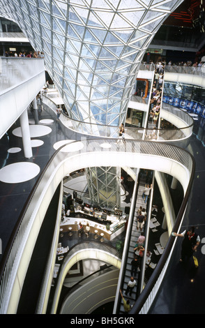 Interior view of MyZeil shopping mall as part of the Palais Quartier in the German city of Frankfurt. - Stock Photo