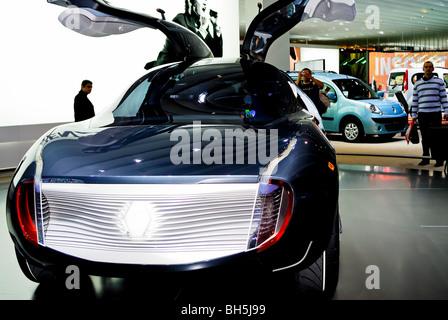 Paris, France, 'Paris Auto Show', Electric Motor, Concept Car, Renault, rear view with open doors that open up - Stock Photo