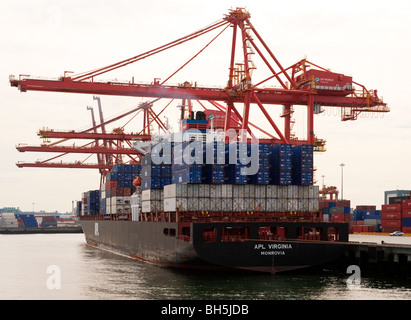 Container ship APL Virginia (2005) at Port Metro Vancouver, Vancouver, BC, Canada. - Stock Photo