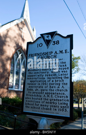 FRIENDSHIP A.M.E. Church Charleston South Carolina SC history historical marker - Stock Photo