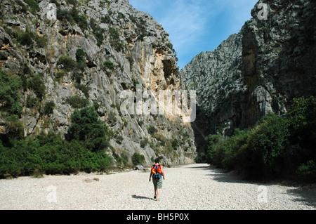 Hiking in canyon of Torrent de Pareis, Island Mallorca, Baleares islands, mediterranean sea, Spain