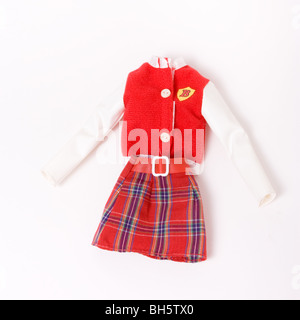 Vintage High School barbie outfit  isolated against white background. - Stock Photo