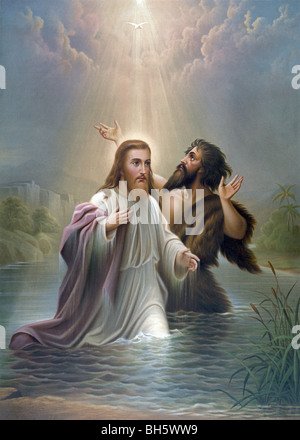 Print c1873 entitled 'The Baptism of Christ' and showing Jesus being baptised by John the Baptist in the Jordan - Stock Photo