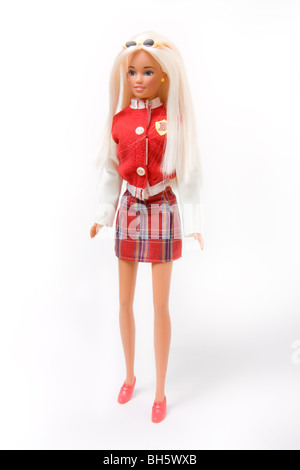 Vintage High School barbie with long blonde hair isolated against white background. - Stock Photo