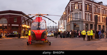 London Air Ambulance - Helicopter Emergency Medical Service (HEMS) - Tufnell Park Underground Station - London - Stock Photo