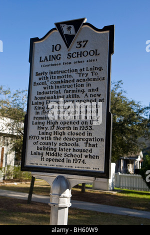 LAING SCHOOL Charleston South Carolina SC history historical marker - Stock Photo