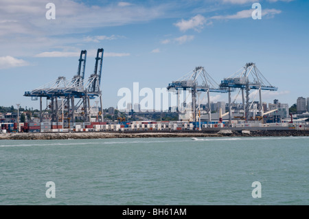 View of queens wharf and auckland city, taken from ferry - Stock Photo