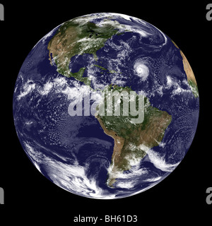 Full Earth showing North America and South America. - Stock Photo