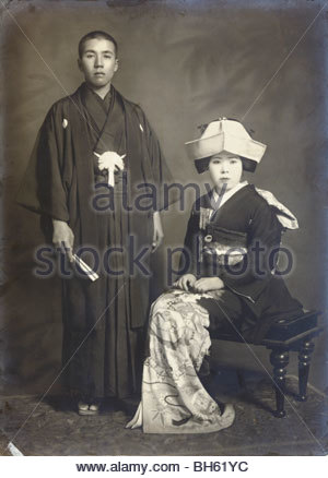 formal portrait of young couple Japan early 1930s - Stock Photo
