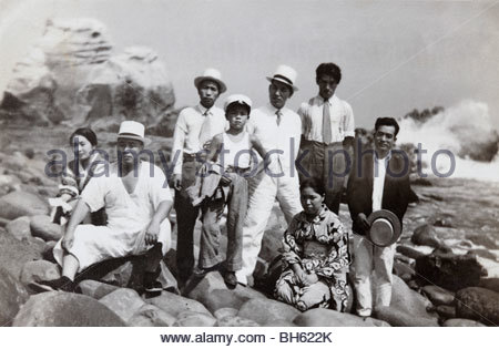 family at the sea Japan summer 1947 - Stock Photo
