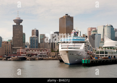 Cruise ship Island Princess, docked at Vancouver Cruise Terminal at Canada Place, Vancouver, BC, Canada - Stock Photo