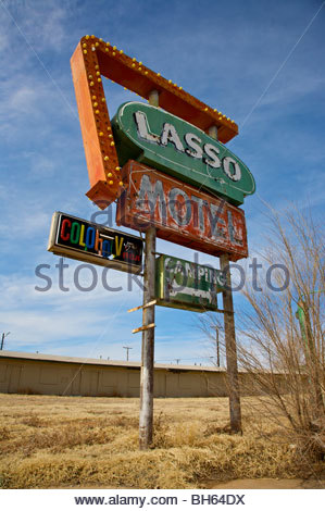 Sign from the old Lasso Motel in Tucumcari, New Mexico along old Route 66. - Stock Photo