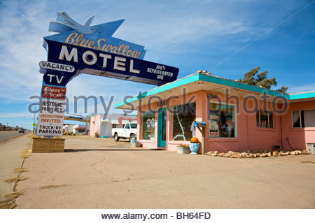 Historic Blue Swallow Motel in Tucumcari, New Mexico along old Route 66. - Stock Photo
