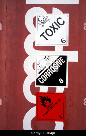 TRANSPORT OF TOXIC PRODUCTS IN CONTAINERS IN THE COMMERCIAL PORT OF SAINT-NAZAIRE (44), FRANCE - Stock Photo