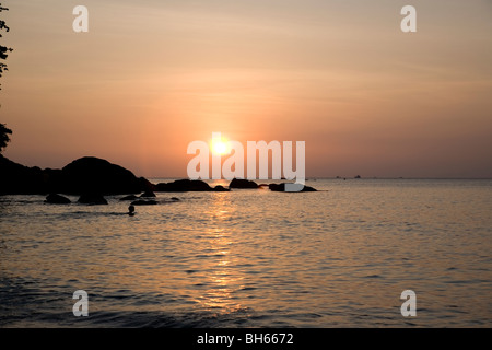 Sunset on Karon Beach, Phuket - Stock Photo