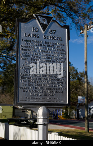 LAING SCHOOL Charleston South Carolina SC history historical marker - Stock Photo