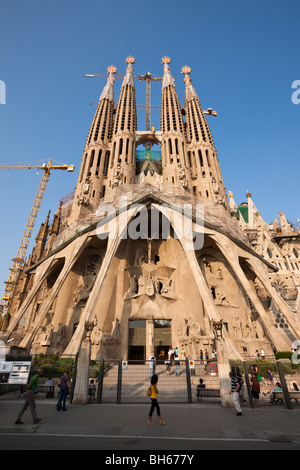 Passion Facade of Cathedrale La Sagrada Familia of Architect Antoni Gaudi, Barcelona, Catalonia, Spain - Stock Photo