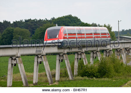 Transrapid TR09 train monorail after junction maglev magnetic levitation transport high tech technology Lathen Germany - Stock Photo