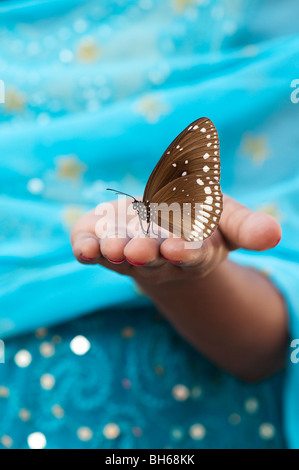 Euploea core. Common crow butterfly on the hand of an Indian girl. Andhra Pradesh. India - Stock Photo