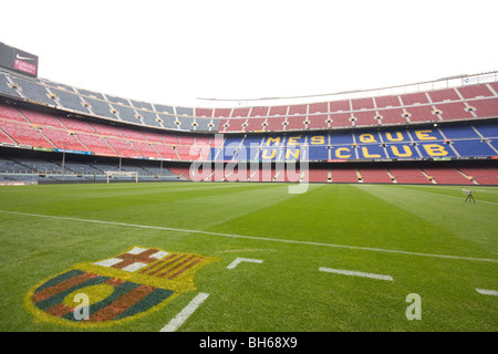 The view inside the Nou Camp, stadium of FC Barcelona. - Stock Photo