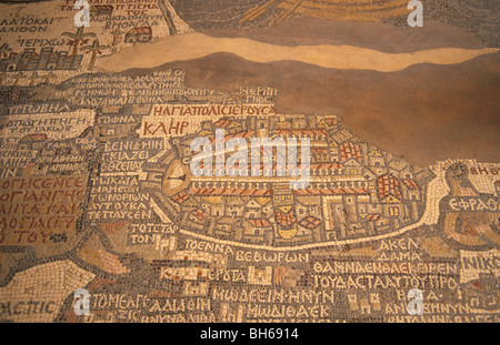 Jordan, the 6th Century Byzantine mosaic Madaba Map.The part depicting Jerusalem - Stock Photo