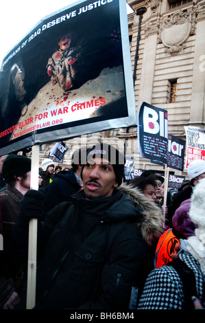 Hundreds gathered outside Chilcot inquiry to call for Tony Blair's arrest for war crimes in Iraq London 29.01.10 - Stock Photo