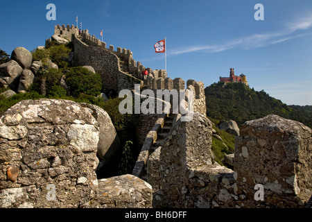 Walls and Castelo Da Pena Palace at Sintra near Lisbon, Portugal, Europe. - Stock Photo