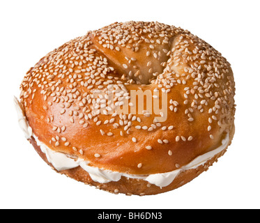 Sesame New York Style Bagel with Cream Cheese Schmear, Food - Stock Photo