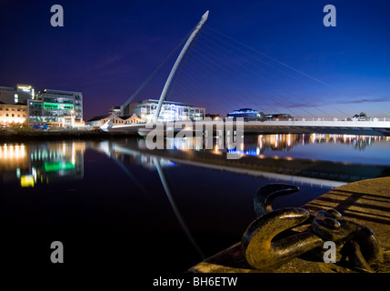 The Samuel Beckett Bridge across the river Liffey in Dublin Docklands. - Stock Photo
