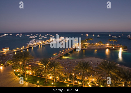 Dusk sea scape from hotel balcony - Stock Photo