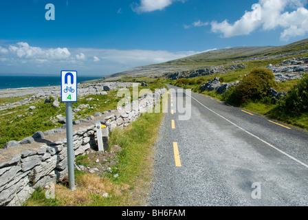 The coastal road in the Burren, looking towards Black head. Wild Atlantic Way - Stock Photo