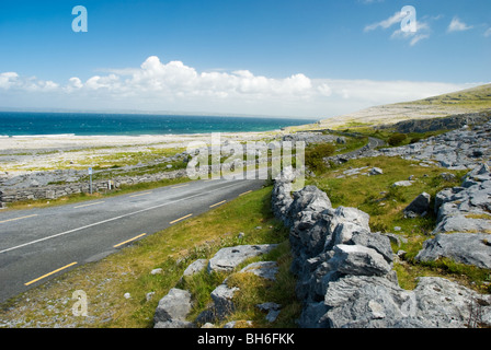 The coastal road in the Burren, looking towards Black head. - Stock Photo