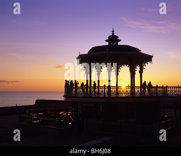 Victorian shelter on the seafront promenade, Brighton and Hove, East Sussex. The shelter, built in 1884, was restored - Stock Photo
