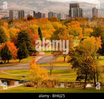 Idaho, Boise. Autumn scenic of Ann Morrison Park and downtown - Stock Photo