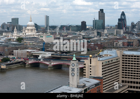Panoramic view of City of London showing St Paul's Cathedral, Blackfriars Bridge, Swiss Re, Nat West Tower and The - Stock Photo
