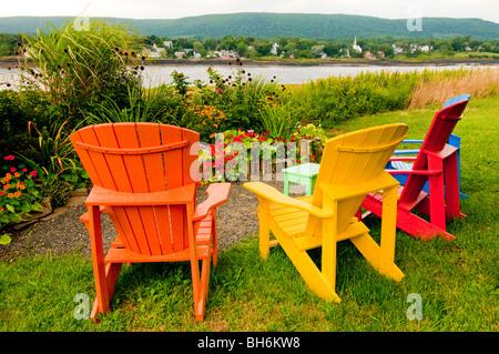 ... Nova Scotia, Annapolis Royal, Colorful Adirondack Chairs In Park  Setting Along Saint Maryu0027s Bay