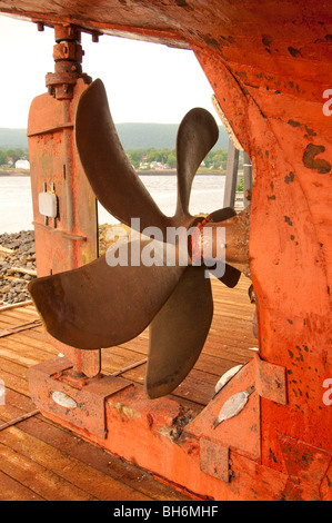 Nova Scotia, Annapolis Royal, Propeller of Commercial fishing boat trawler in dry dock - Stock Photo