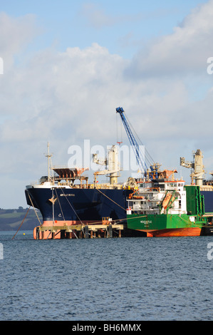 cargo ships being unloaded at falmouth docks, cornwall, england, uk - Stock Photo