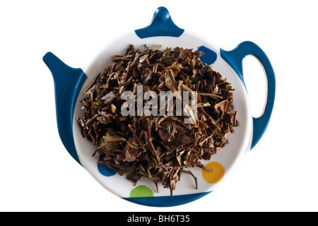 Spent Darjeeling loose tea on a tea strainer tray - Stock Photo