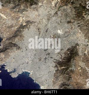 True-color satellite view of central Athens, Greece. - Stock Photo