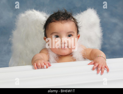 Hispanic baby girl with funny look on her face and wearing angel wings in a studio - Stock Photo