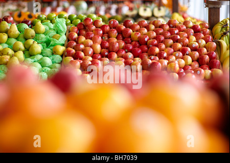 Fresh fruit for sale at greengrocer's shop - Stock Photo