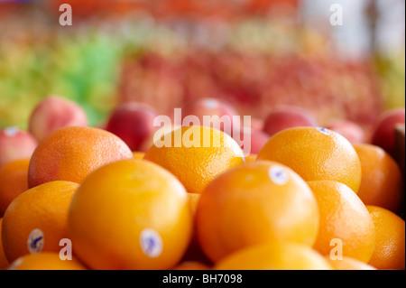 Oranges at fruit market - Stock Photo