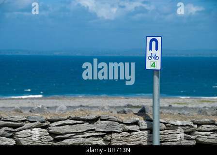 The coastal road in the Burren, looking across Galway bay - Stock Photo