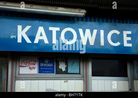 Railway platform sign in the station of the Polish city of Katowice. Poland. - Stock Photo