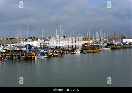 Boats moored in the river adur at shoreham by sea - Stock Photo