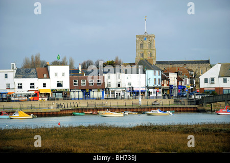 View of shoreham by sea across the river adur - Stock Photo